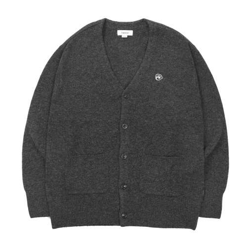 KANCO 칸코 가디건_KANCO LOGO KNIT CARDIGAN-GREY