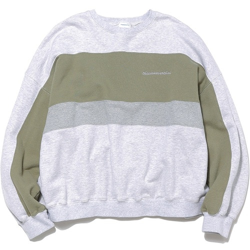 디스이즈네버댓 맨투맨_SCRT-LOGO PANELED CREWNECK-LIGHT GREY