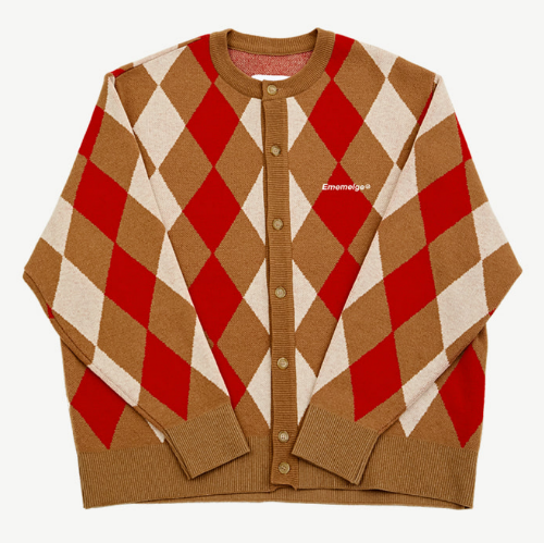 87mm mmlg 가디건_ARGYLE HEAVY CARDIGAN-CREAM