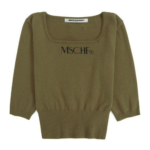 MISCHIEF 미스치프 니트_SQUARE NECK KNIT-OLIVE