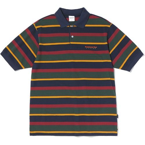 디스이즈네버댓 폴로티 DSN STRIPED JERSEY POLO-NAVY/OLIVE