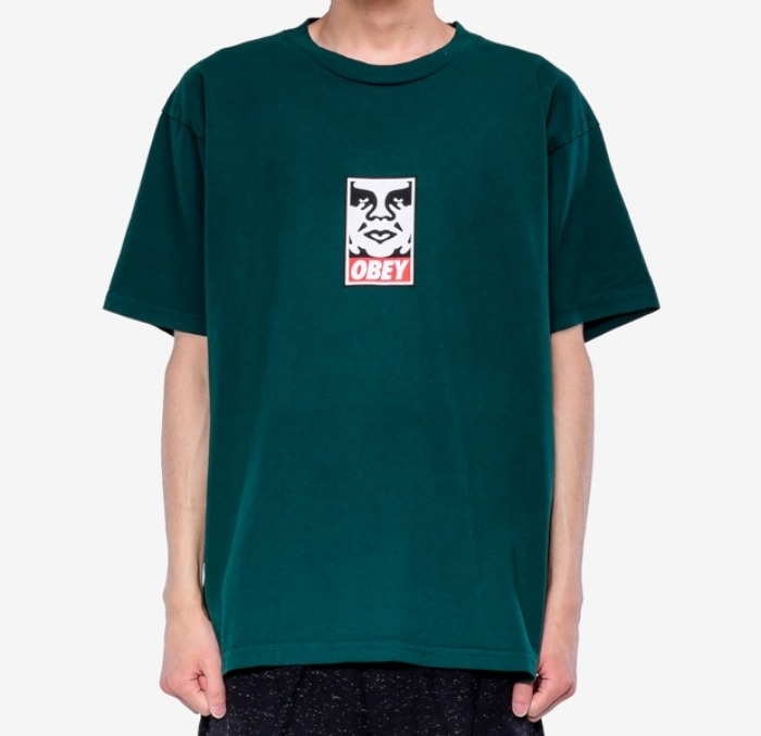 오베이 반팔티 OBEY ICON FACE TEE-FOREST PINE