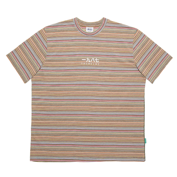 87MM 엠엠엘지 티셔츠 MULTISTRIPE HF TEE-MULTI ORANGE