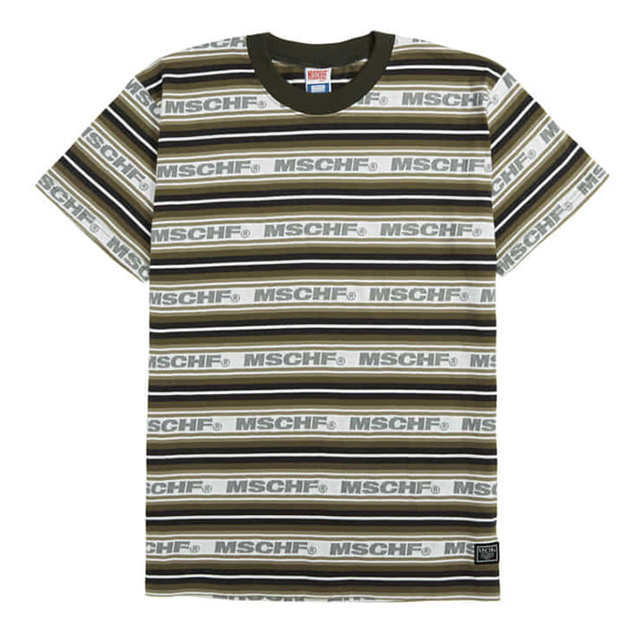 미스치프 티셔츠 STRIPED LOGO TEE-CHARCOAL MULTI