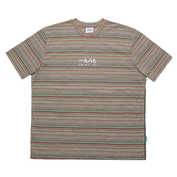 87MM 엠엠엘지 티셔츠 MULTISTRIPE HF TEE-MULTI GREEN