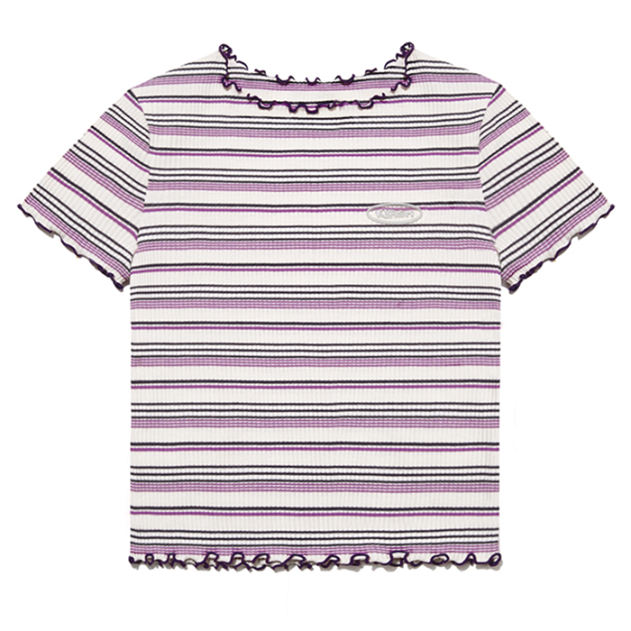 키르시 반팔티 MERROW EDGE STRIPE TEE IH-PURPLE