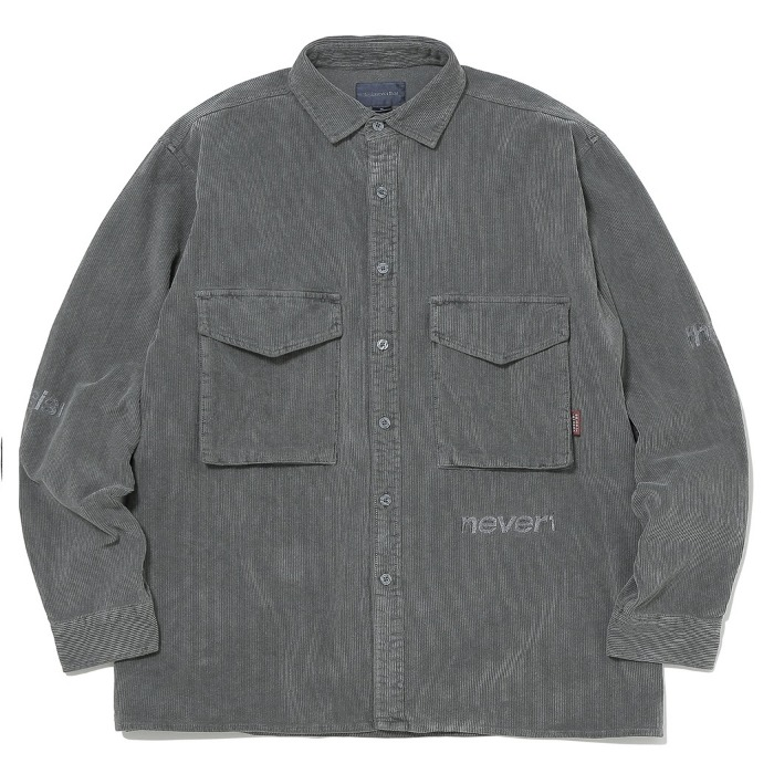 디스이즈네버댓 셔츠 SP-LOGO CORDUROY SHIRT CHARCOAL