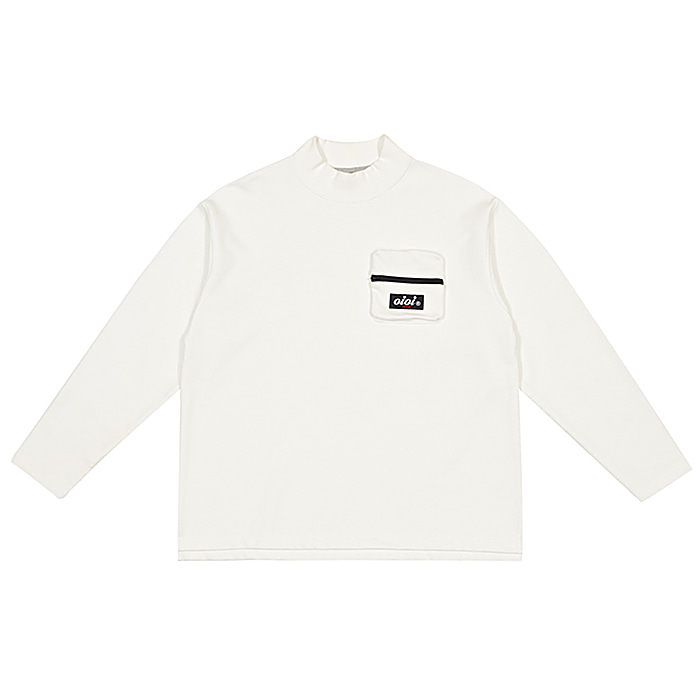 오아이오아이 긴팔티 POCKET HALF NECK LONG SLEEVE T-WHITE