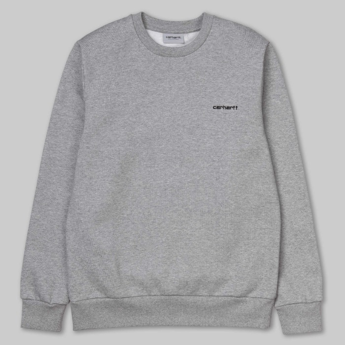 칼하트WIP 맨투맨 SCRIPT EMBROIDERY SWEATSHIRT GREY HEATHER/BLACK