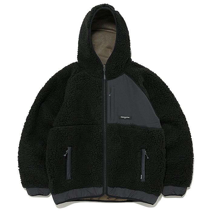 디스이즈네버댓 자켓 HOODED BOA FLEECE JACKET-BLACK