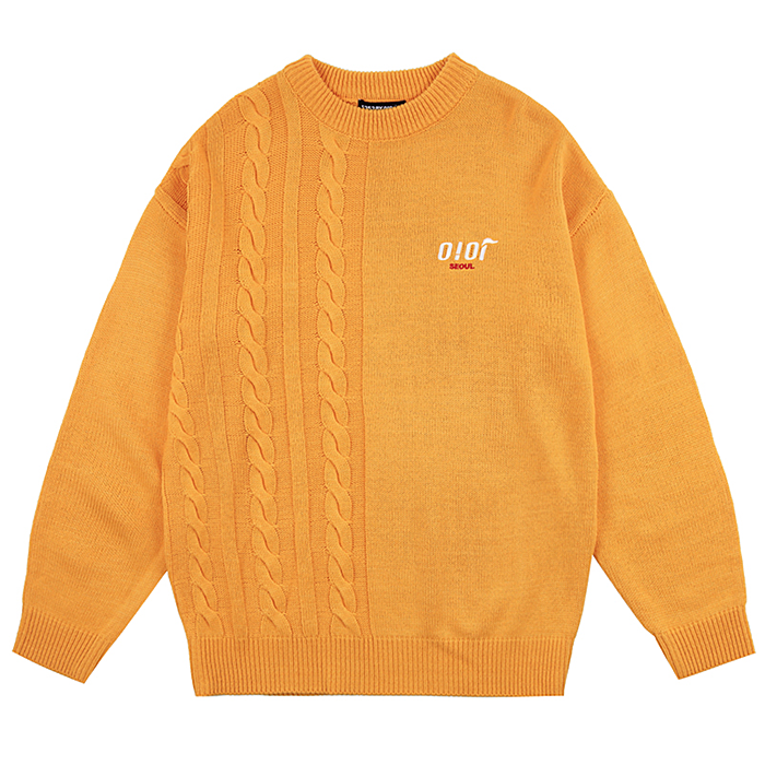 오아이오아이 니트 HALF TWIST KNIT PULLOVER-YELLOW