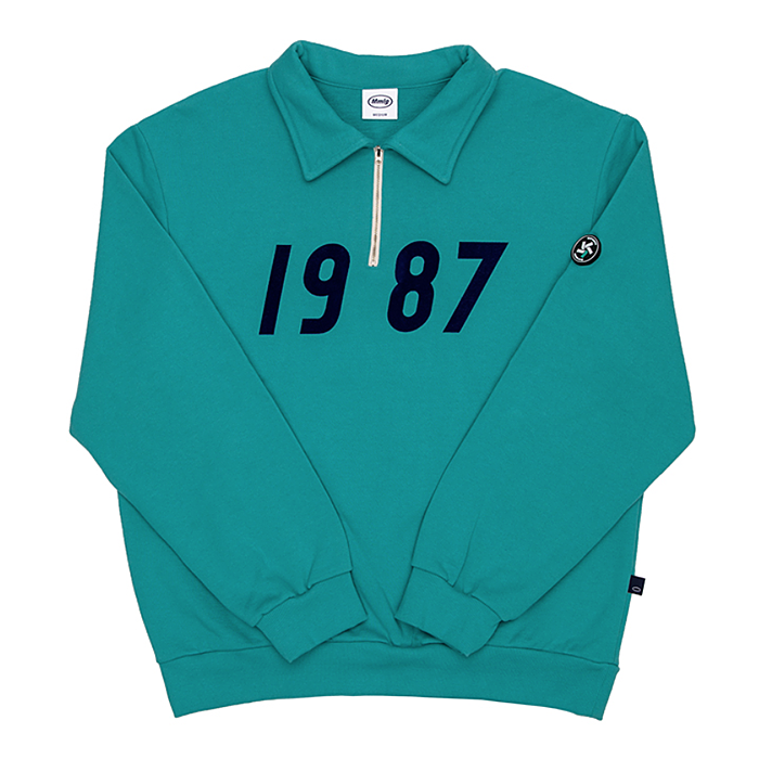 87MM 엠엠엘지 하프집 1987 HALF ZIP SWEAT-MELANGE GREEN