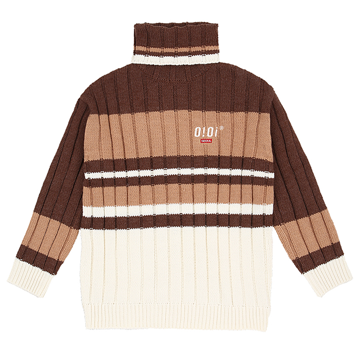 오아이오아이 니트 TURTLE NECK HEAVY KNIT-BROWN