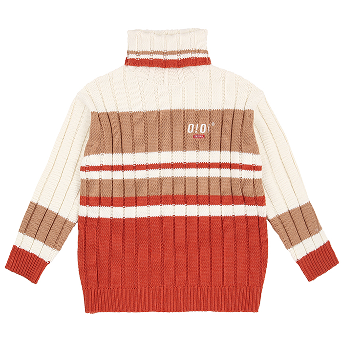 오아이오아이 니트 TURTLE NECK HEAVY KNIT-CARROT