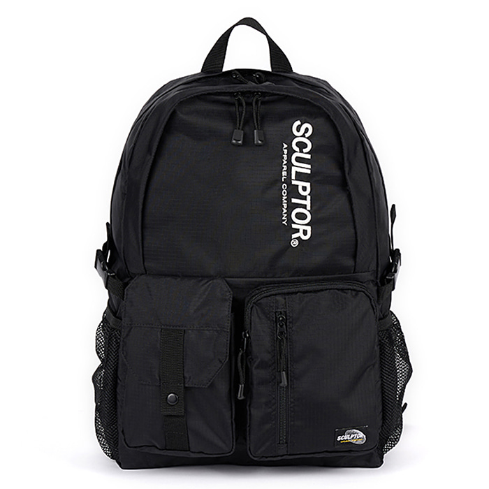 스컬프터 백팩 DOUBLE POUCH NYLON BACKPACK-BLACK
