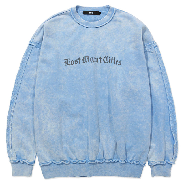 엘엠씨 맨투맨 LMC OVERDYED RAW EDGE OVERSIZED SWEATSHIRT-LT BLUE