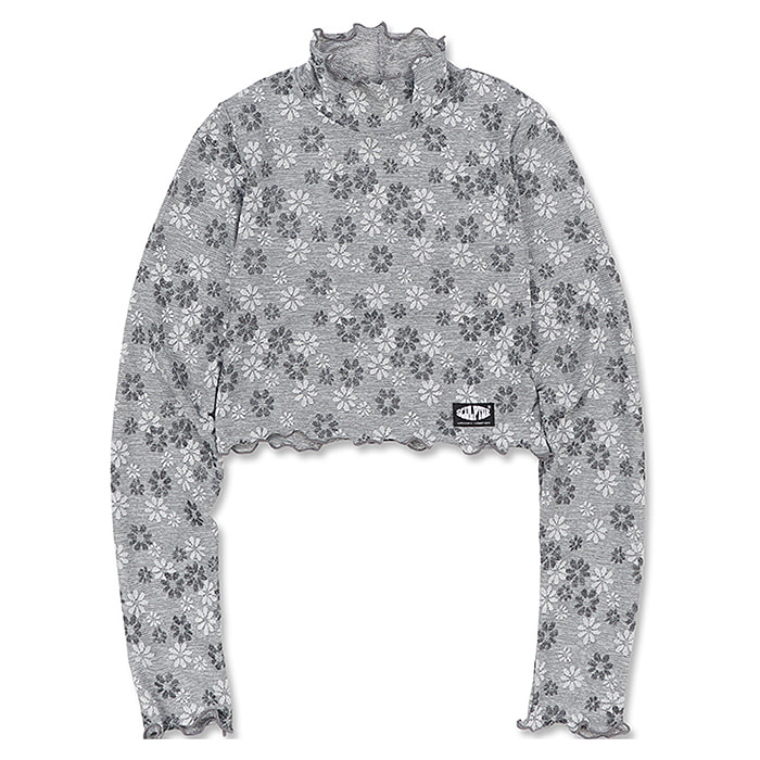 스컬프터 터틀넥 SHEER FLORAL CROPPED TURTLENECK-LIGHT GREY