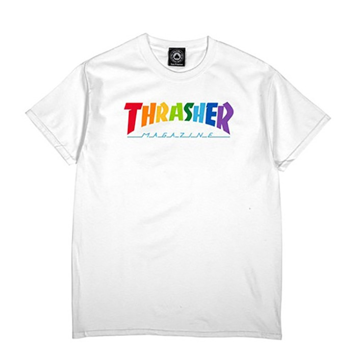 트레셔 반팔티 THRASHER RAINBOW MAG TEE-WHITE