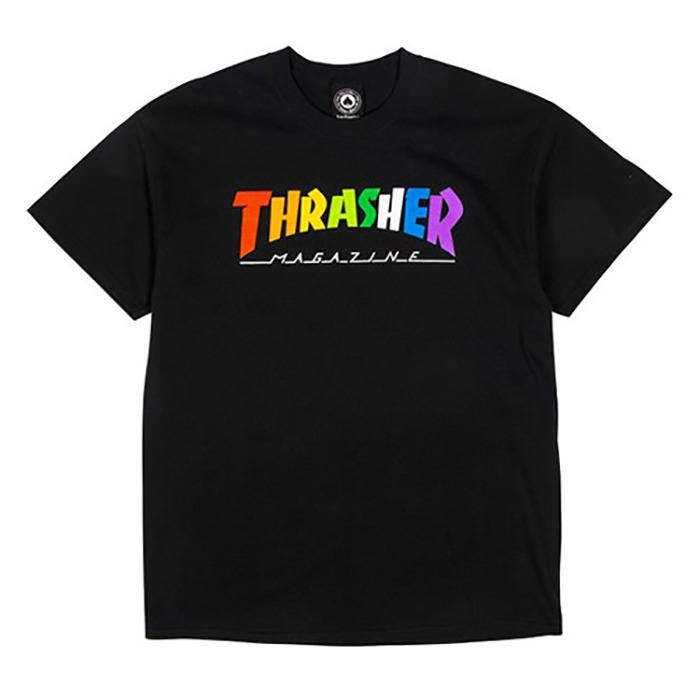 트레셔 반팔티 THRASHER RAINBOW MAG TEE-BLACK