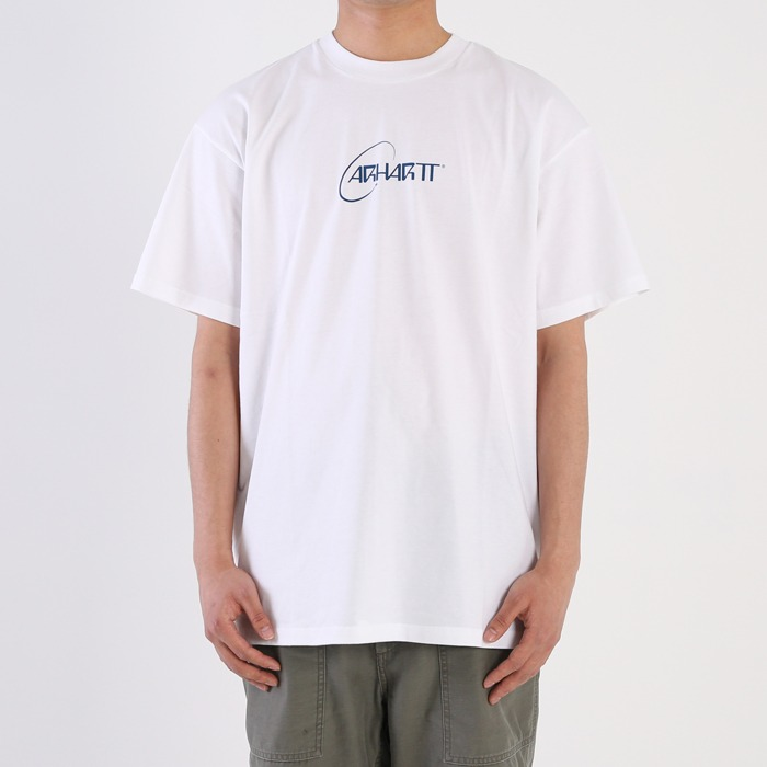 칼하트WIP S/S ORBIT T-SHIRT-WHITE/BLUE
